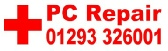 PC Computer repairs in Crawley West Sussex & Surrey, we will undertake on-site and workshop repairs to PC Computers, laptops, notebooks & tablets call 01293 326001